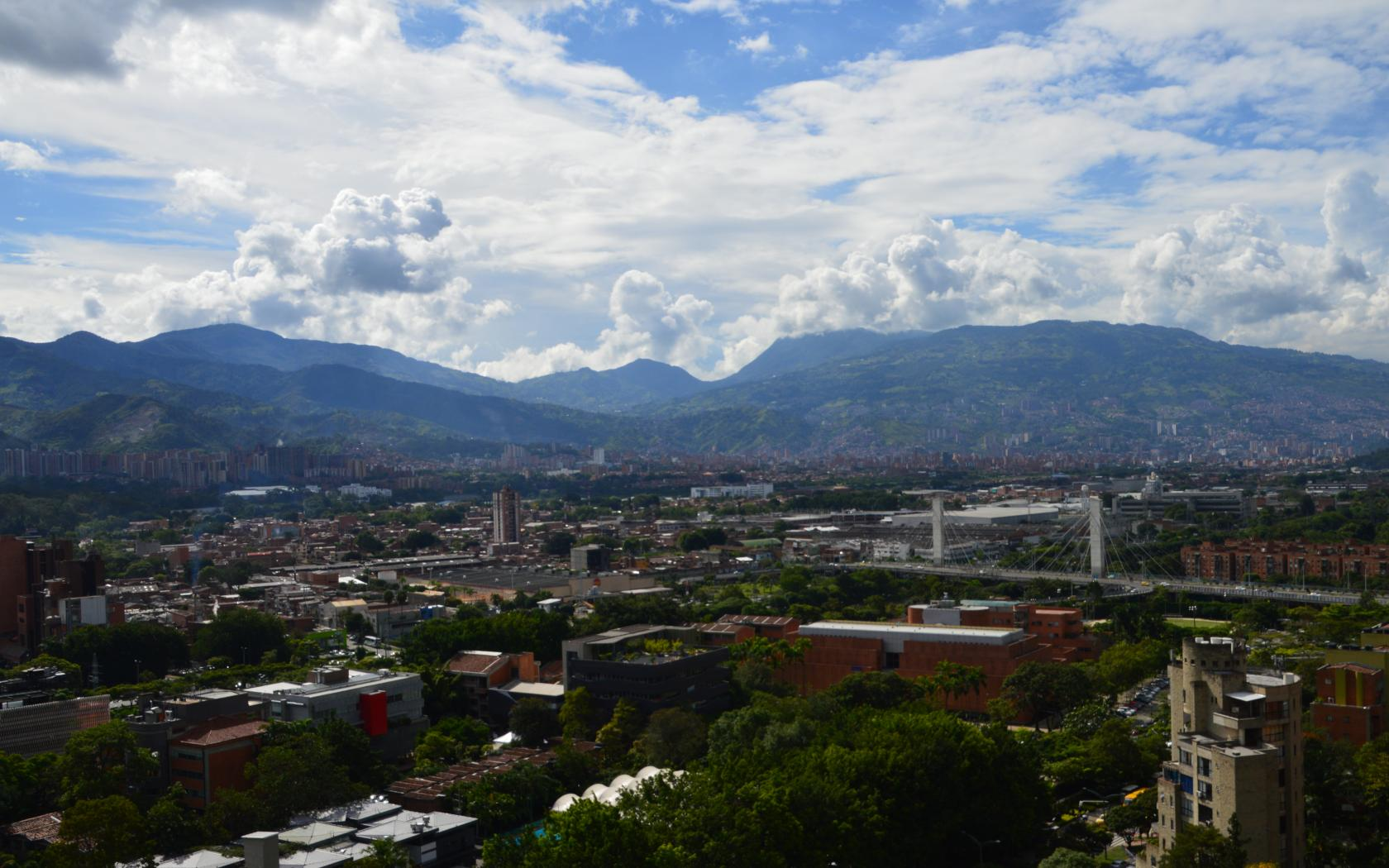 The view of Medellin and surrounding mountains from our balcony.