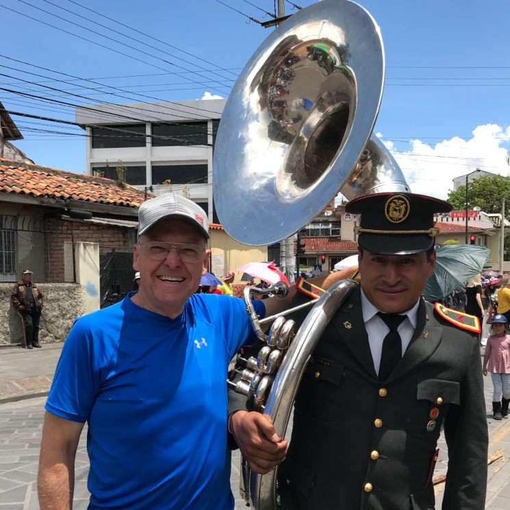 10 Countries to Retire-Cuenca Parade - Steve With Fellow Tuba Player
