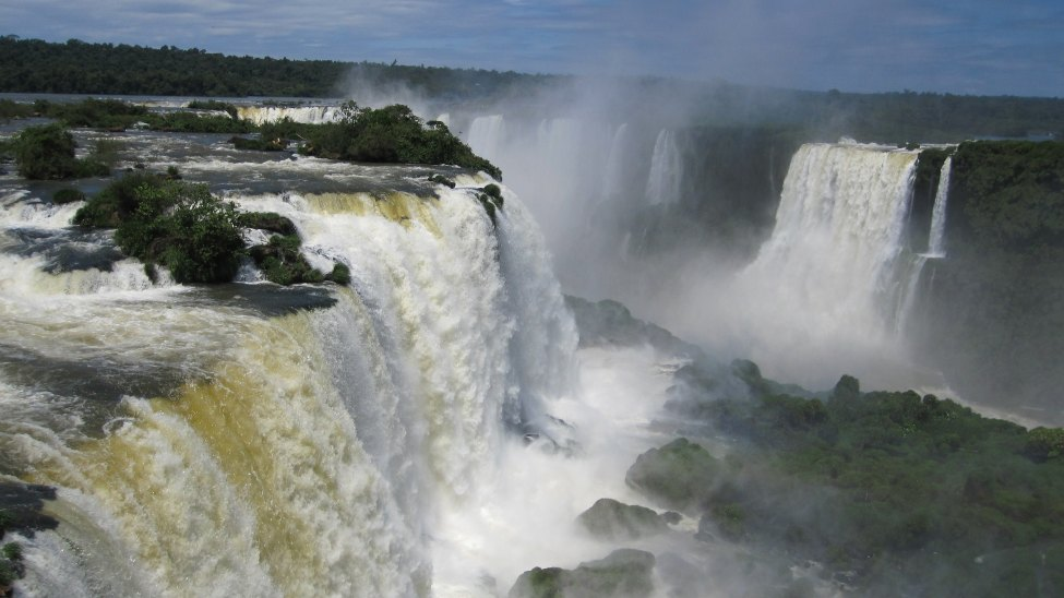 Magnificent Iguazu Falls is shared by 3 countries in South America