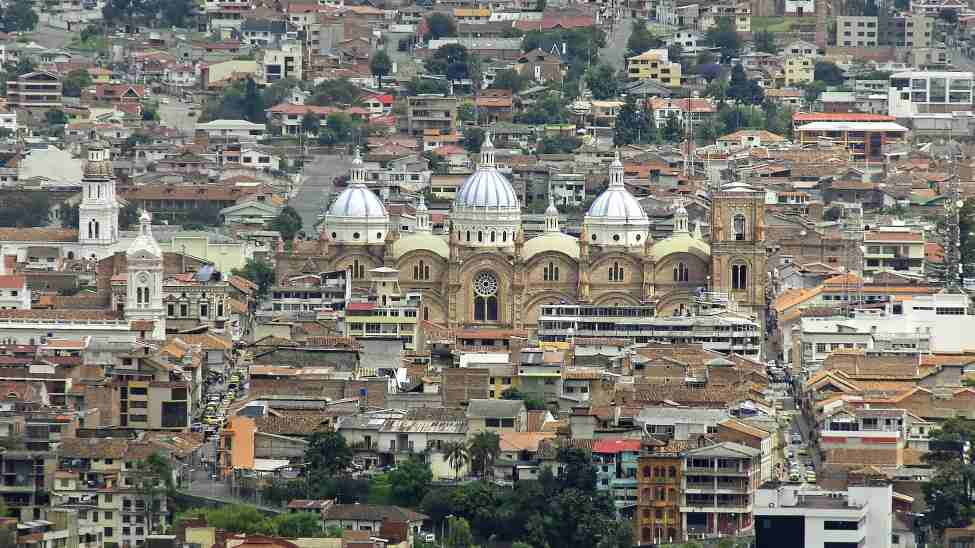 Cuenca Ecuador with the imposing domes of the New Cathedral