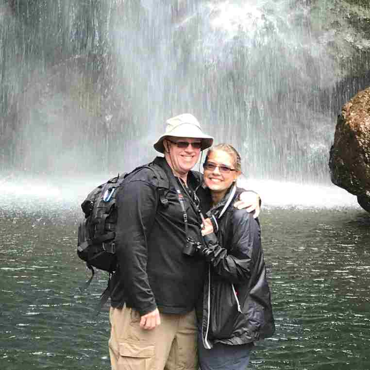 Geoff and Joy at the waterfall outside Cuenca
