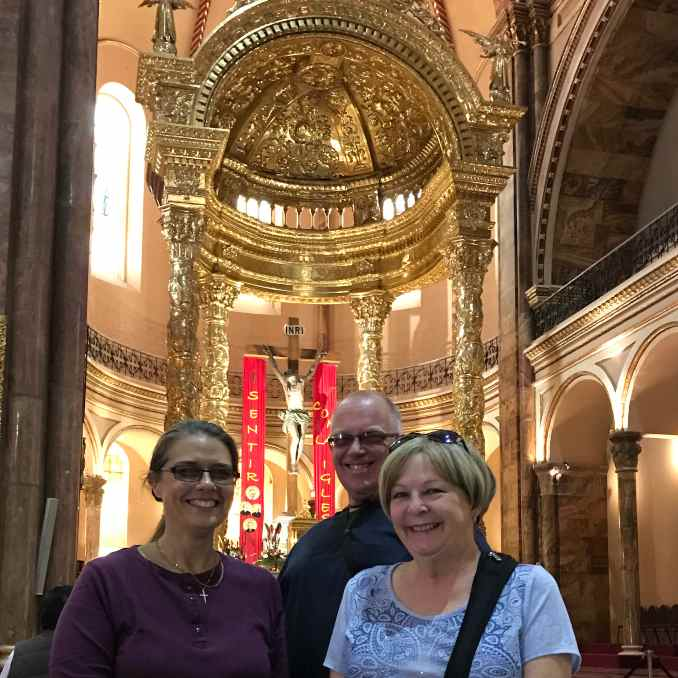 Paulette, Geoff, and Joy Inside the New Cathedral